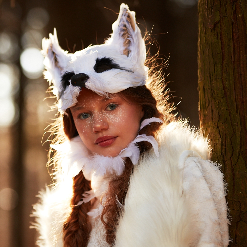 angel jablonowski in a woodland shoot for the Sandra Reynolds Juniors homepage