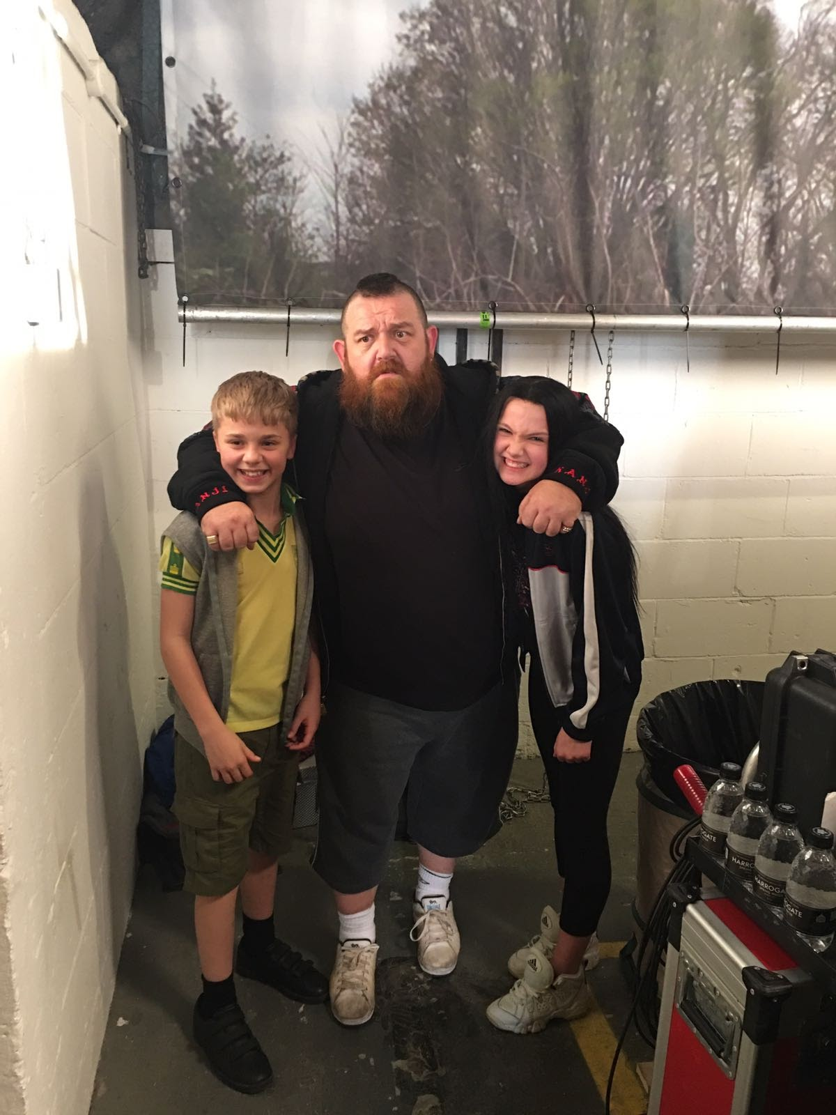 Thomas Willey with Nick Frost on set